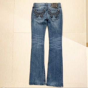 MISS ME Jeans Leather and Gem pockets size 25